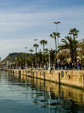 Barcelona Harbor. Waterfront walkway at the harbor of barcelona Royalty Free Stock Images