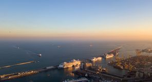 Barcelona harbour. An aerial view over the Barcelona harbor at sunset stock image