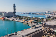 Barcelona Harbour Catalunia Spain. The harbour of Barcelona, the cable car and boats Catalunia, Spain stock images