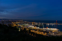 Barcelona harbour by night royalty free stock image