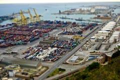Barcelona harbour. Tilt Shift Effect Royalty Free Stock Images