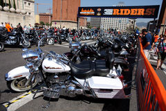 Barcelona Harley Days. Harley-Davidson Motorcycles parked during the Barcelona Harley Days event on the city streets, July 9, 2011 in Barcelona, Spain stock photography