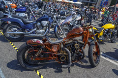 BARCELONA HARLEY DAYS 2013. BARCELONA, SPAIN - JULY 06: Harley Davidson customized for exhibition during BARCELONA HARLEY DAYS 2013, on July 06, 2013, Barcelona royalty free stock images
