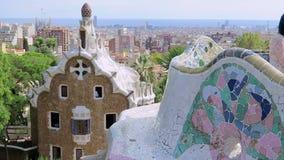 Barcelona, Hiszpania Guell Parkowy Casa del Guarda - furtiany Nocują zbiory wideo