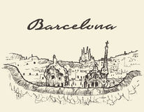 Barcelona Hiszpania ilustracja rysujący nakreślenie Zdjęcie Stock