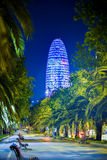 BARCELONA HISZPANIA, KWIECIEŃ, - 28: Agbar wierza zaświecał podczas nocy na Kwietniu 28, 2016 w Barcelona, Hiszpania Zdjęcia Stock