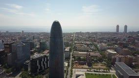 BARCELONA HISZPANIA, KWIECIEŃ, -, 15, 2017 Torre Agbar pejzaż miejski na słonecznym dniu i wierza Obraz Royalty Free