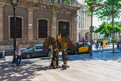 BARCELONA HISZPANIA, KWIECIEŃ, - 16: Widok bulwar Rambla w Barcelona, Hiszpania 16 Aplril 2017 S?awny turystyczny miejsce przezna obrazy stock