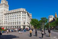 BARCELONA HISZPANIA, KWIECIEŃ, - 16: Widok Catalonia kwadrat w Barcelona, Hiszpania 16 Aplril 2017 Sławny turystyczny miejsce prz obraz royalty free