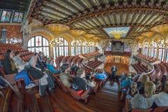 BARCELONA HISZPANIA, KWIECIEŃ, - 28: Wnętrze pałac Katalońska muzyka na Kwietniu 28, 2016 w Barcelona, Hiszpania Zdjęcie Stock