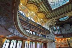 BARCELONA HISZPANIA, KWIECIEŃ, - 28: Wnętrze pałac Katalońska muzyka na Kwietniu 28, 2016 w Barcelona, Hiszpania Zdjęcia Stock