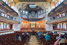 BARCELONA HISZPANIA, KWIECIEŃ, - 28: Wnętrze pałac Katalońska muzyka na Kwietniu 28, 2016 w Barcelona, Hiszpania Obraz Royalty Free
