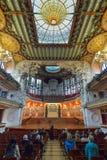 BARCELONA HISZPANIA, KWIECIEŃ, - 28: Wnętrze pałac Katalońska muzyka na Kwietniu 28, 2016 w Barcelona, Hiszpania Fotografia Royalty Free
