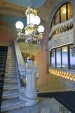BARCELONA HISZPANIA, KWIECIEŃ, - 28: Wnętrze pałac Katalońska muzyka na Kwietniu 28, 2016 w Barcelona, Hiszpania Fotografia Stock
