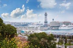 Barcelona, Hiszpania - 22 Kwiecień, 2016: Panoramiczny widok Barcelona od Montjuic w letnim dniu w Hiszpania Fotografia Royalty Free
