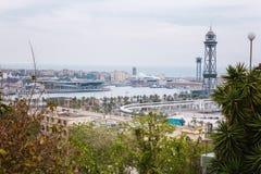 Barcelona, Hiszpania - 22 Kwiecień, 2016: Panoramiczny widok Barcelona od Montjuic w letnim dniu w Hiszpania Obraz Royalty Free