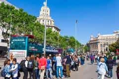 BARCELONA HISZPANIA, KWIECIE?, - 16: Widok Catalonia kwadrat w Barcelona, Hiszpania 16 Aplril 2017 S?awny turystyczny miejsce prz fotografia stock