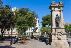 BARCELONA HISZPANIA, KWIECIE?, - 16: Widok Catalonia kwadrat w Barcelona, Hiszpania 16 Aplril 2017 S?awny turystyczny miejsce prz fotografia royalty free