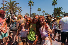 BARCELONA HISZPANIA, LIPIEC, - 9, 2016: Holi festiwal Obrazy Stock