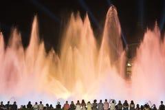 Barcelona Hiszpania: magiczna fontanna Fotografia Royalty Free