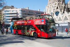 Barcelona Hiszpania, Marzec, - 30, 2016: Barcelona miasta wycieczka autobusowa na ulicie Zwiedzać i podróżować Transport dla wyci Fotografia Stock