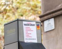 BARCELONA HISZPANIA, PAŹDZIERNIK, - 3, 2017: Biuletyn dla głosować na ulicie w Barcelona Zakończenie obraz royalty free