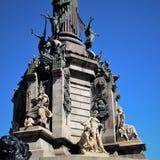 Barcelona, Hiszpania, Sierpie? 2016 Czerep baza zabytek Kolumb w centrum kapitał Catalonia obrazy stock