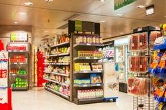 BARCELONA HISZPANIA, STYCZEŃ, - 02, 2018: Jedzenie opóźnia w supermarkecie Obraz Royalty Free
