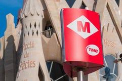 BARCELONA HISZPANIA, STYCZEŃ, - 02, 2018: Barcelona metra wejście si Zdjęcia Stock