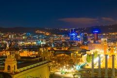BARCELONA HISZPANIA, STYCZEŃ, - 02, 2018: Widok na hiszpańszczyzna kwadracie od Zdjęcie Stock