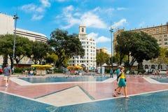 Placa De Catalynia. (kwadrat Catalonia) Barcelona na Wrześniu Fotografia Stock