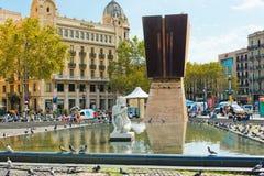 Placa De Catalynia. (kwadrat Catalonia) Barcelona na Wrześniu Obraz Royalty Free