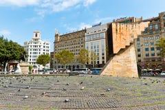 Placa De Catalynia. (kwadrat Catalonia) Barcelona na Wrześniu Zdjęcie Stock