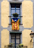 Barcelona home with flag of Catalonia Royalty Free Stock Images