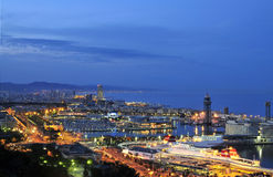 Barcelona horbour at night Royalty Free Stock Images