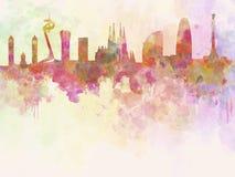 Barcelona horisont i akvarellbakgrund Royaltyfria Bilder