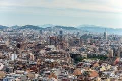 Barcelona horisont - ovanligt perspektiv Royaltyfri Foto