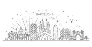 Barcelona horisont, Spanien Arkivbilder