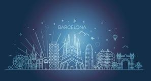 Barcelona horisont, Spanien Arkivbild
