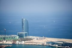 Barcelona Hotel W view from sky. Touristic funicular royalty free stock photo