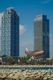Barcelona hotellkonster Torre Mapfre Arkivfoto