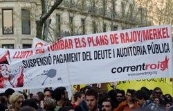 Barcelona - huelga general Foto de archivo libre de regalías