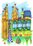 Barcelona Illustration. Abstract combination of city landmarks. Colorful illustration Stock Photo
