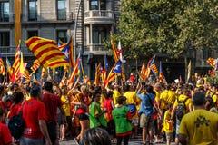 Barcelona, independencia de manifestación de la gente de Cataluña Imágenes de archivo libres de regalías