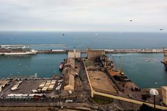 Barcelona industrial cargo port aerial view royalty free stock photography