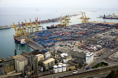 Barcelona industrial seaport Royalty Free Stock Image