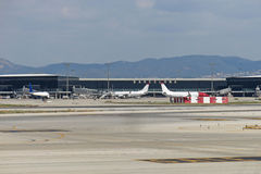 Barcelona International Airport panorama. Stock Photo