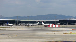 Barcelona International Airport panorama. Stock Photos