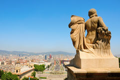 Barcelona and its skyline from Montjuich, Spain Stock Images