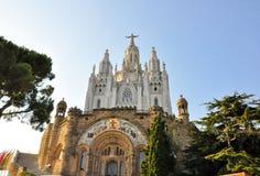 25 Barcelona-JULI: De Tempel Expiatori del Sagrat Cor op 25 Juli, 2009. Voorgevel van de crypt. Royalty-vrije Stock Afbeeldingen